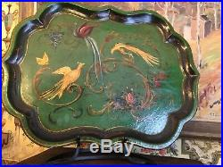 English Tray Papier Mache Hand Painted Victorian Birds Flowers 19th Century 25in