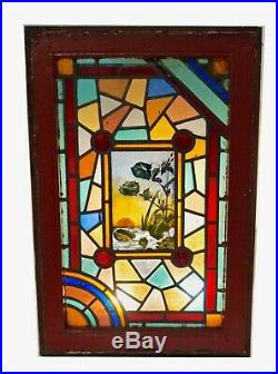 English Victorian Stained Glass Window Hand Painted Landscape Scene Rondels