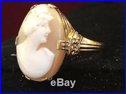 Estate Antique 10k Yellow Gold Cameo Ring Hand Carved Shell Victorian