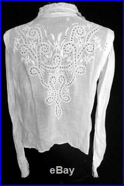 Exceptional Rare French Victorian White Cotton Hand Embroidered Blouse Size 6