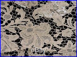 Exquisite 19th C Victorian Hand Made Needle Lace Floral Cape For Dress
