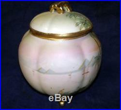 Exquisite Antique Nippon Egyptian Pyramids Hand Painted Biscuit Jar Gold Beading