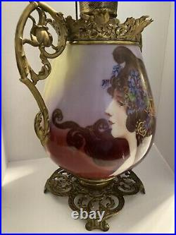 Exquisite Rare Large Victorian Portrait Hand Painted Glass Oil Lamp