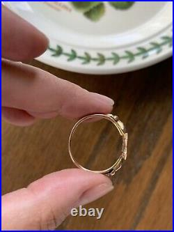 FEDE Antique SIGNET Ring VICTORIAN 10k Rose Gold 2 Hand Holding Shield Initial R