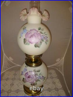 Fenton Opal Satin Lavender Glass Hand Painted Floral Gone With Wind Lamp 3-Way