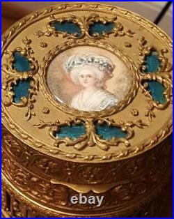 Fine Antique French Bronze Powder Jar with signed Hand Painted Portrait