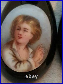 Fine Antique Victorian Whitby Jet Drop Earrings Hand Painted Little Boy Praying