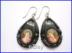 Fine Antique Victorian Whitby Jet Earrings With Hand Painted Porcelain Plaques