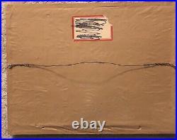 Framed Antique Black Paper Mache' hand Fan Mourning Eastlake Era