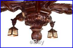 French Victorian Hand Carved Wood Large Chandelier with Six Griffins Lantern