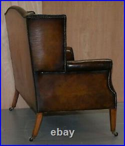 Fully Restored Hand Dyed Cigar Brown Leather Victorian Wingback Bench Sofa Seat