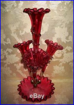 GORGEOUS Antique Hand Blown 1800's Victorian Cranberry Epergne