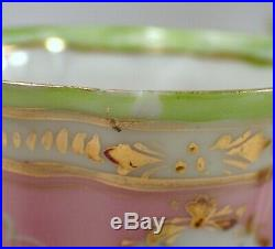 GORGEOUS Antique Limoges Hand Painted Pink Green & Gold Chocolate Pot w 5 Cups