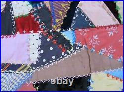 GORGEOUS, RARE, PERFECT 1890 ANTIQUE VICTORIAN CRAZY QUILT TOP, Hand Embroidery