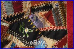 GORGEOUS Vintage 1880's Victorian Antique Crazy Quilt AMAZING HAND EMBROIDERY