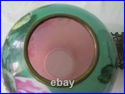 GWTW Antique Parlor Lamp PLB&G Co. Success Hand Painted Roses Pink Teal Electric
