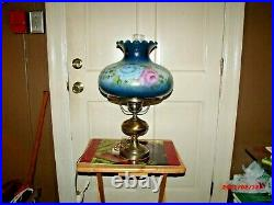 GWTW Hand Painted Pink and Blue Roses Hurricane Lamp