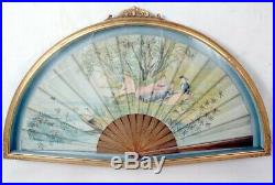 Guilt Framed Antique Painted Hand Fan Victorian C 19th E20th