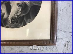 HUGE Antique Charcoal Pharaohs Horses Framed Hand Made Pharoahs Vintage Herring
