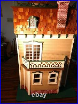 HUGE OVER 42 TALL Hand Built 112 Wooden Victorian Mansion Dollhouse Vintage