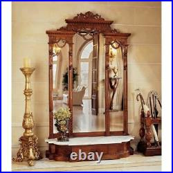 Hall Stand Hand Carved Mahogany Mirror Stand With White Solid Marble Shelf