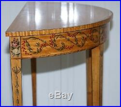 Hand Painted Satinwood Sheraton Revival Victorian Demi Lune Console Side Table