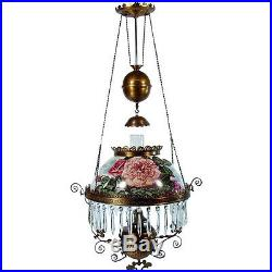 Hand-Painted Victorian Pull-down Library Lamp 1880's