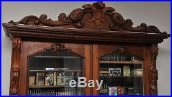Hand carved mid 19th century solid walnut Victorian secretary top / bookcase