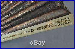 Hand fan 18th 19thc carved bovine bone embossed gold foil mirror antique 1800