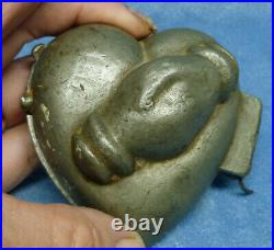 Heart Clasped Hands Pewter Ice Cream Mold Antique Victorian