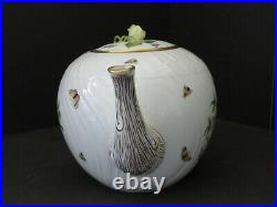 Herend Hungary Hand Painted Rothschild Bird Rose Finial Large Teapot