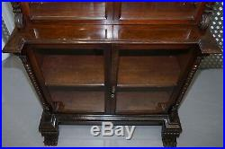 Huge 3 Meter Tall Victorian Mahogany Hand Carved Wood Library Bookcase Ornate