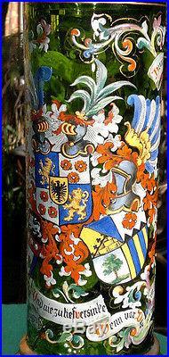 Huge 58cm Antique Bohemian Moser Glass c1900 Hand Enameled Pokal-Alliance-Toasts