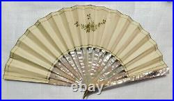 Important Mother Of Pearl And Paper Hand Painted And Signed Hand Fan