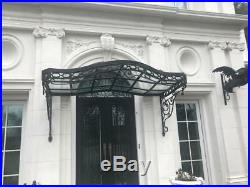 Incredible Victorian Style Hand Wrought Iron Canopy Awning With Glass Cct1