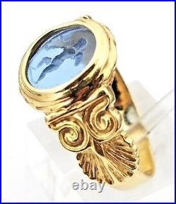 Italian Art Deco Era 18K Yellow Gold Hand Carved Cupid Blue Venetian Glass Ring