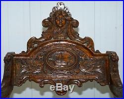 Italian Circa 1850 Fruitwood Restored Hand Carved Lion & Cherub Rocking Armchair