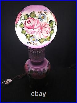 LARGE & RARE Hand Painted VICTORIAN 3 Way Lamp With Prisms & Floral Roses 25 H