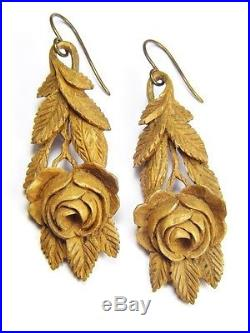 LOVELY ANTIQUE VICTORIAN ENGLISH HAND CARVED WOOD DROP EARRINGS ROSES c1870