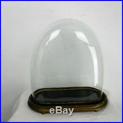 L Antique Victorian Oval Hand Blown Glass Globe Dome Clock Steampunk 18.3 x 16