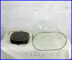 L Antique Victorian Oval Hand Blown Glass Globe Dome Display Clock 20.07