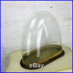 L Antique Victorian Oval Hand Blown Glass Globe Dome Steampunk Clock 14 x 15