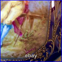 Large Antique Sevres Style Casket Jewel Box Ormolu Bronze Hand Painted Signed