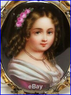 Large Antique Victorian Hand Painted Porcelain Portrait of Girl Brooch C-Clasp