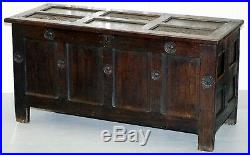 Large English Gothic Early 16th Century Coffer Trunk Chest Bo Hand Carved Wood