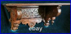 Large & Superb Hand Carved Renaissance Revival Victorian Clock Wall Shelf c. 1870