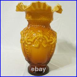 Large Victorian Mold Hand Blown Art Cased Glass Vase Amber Embossed Ruffled Edge