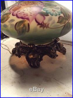 Large Vintage Victorian Gwtw Parlor Lamp 28 Tall Hand Painted Hurricane Lamp