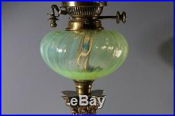 Late Victorian Hand Painted Oil Lamp Well Vaseline/Uranium Glass Shade Hinks&Co