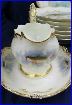 Limoges fish service 12 people hand painted circa 1880's stunning Antique set